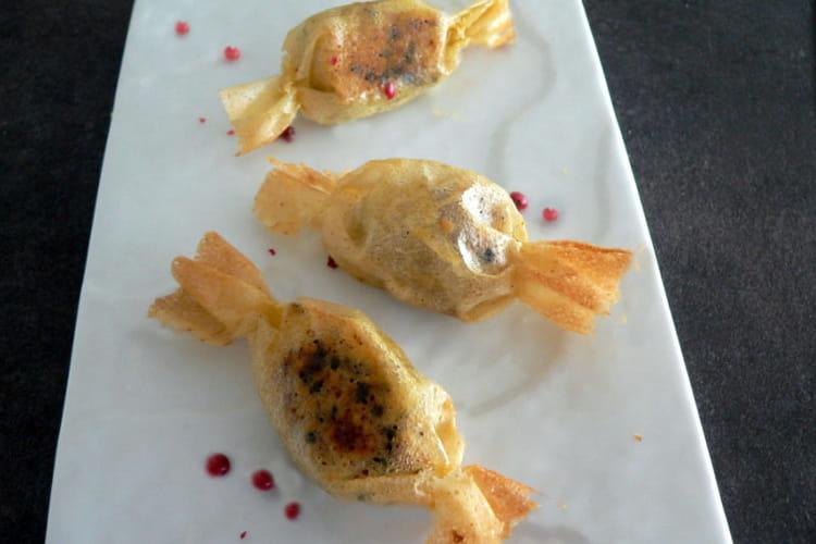 Bonbons de feuilles de brick au foie gras