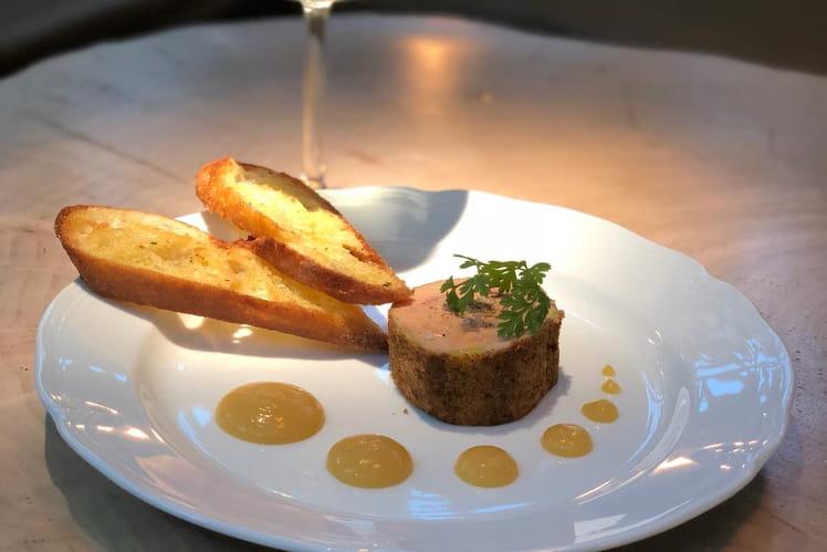 Foie gras, pain d'épices et chutney mangue passion & Bazillac