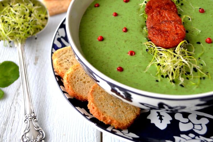 recette de soupe au cresson croustillants de chorizo la recette facile. Black Bedroom Furniture Sets. Home Design Ideas