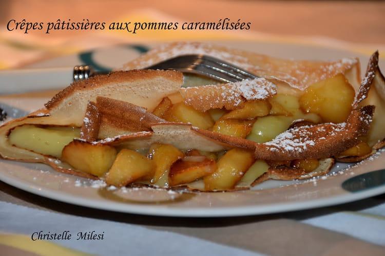 Crêpes pâtissières aux pommes caramélisées