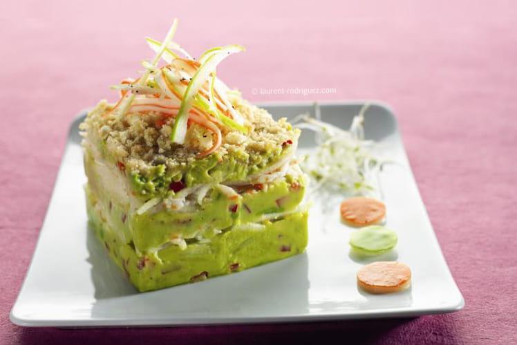 Surimi sur lit craquant de légumes, curry et wasabi