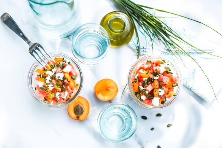 Tartare d'abricots au chèvre et pastèque à l'huile d'olive