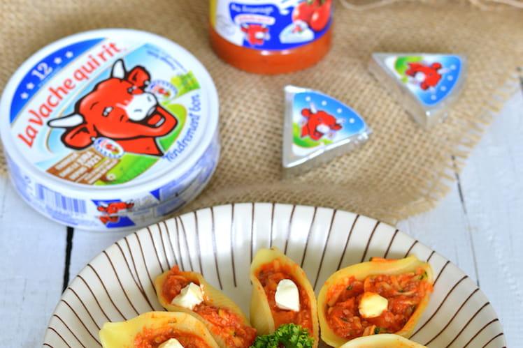 Conchiglioni farcis aux courgettes et à la sauce tomate Zapetti à La vache qui rit
