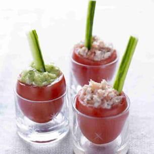 tomates à la coque, mouillettes de concombre