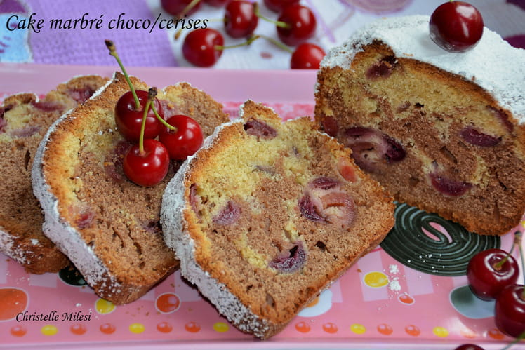 Cake marbré choco/cerises