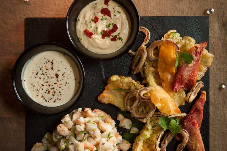 Tartare de crevettes et cabillaud tempura de légumes