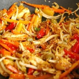 wok de lapin au sésame