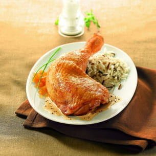cuisse de poulet sauce moutarde, riz parfumé et sa compotée d'abricots