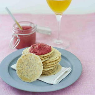 water crackers aux graines et houmous de betterave