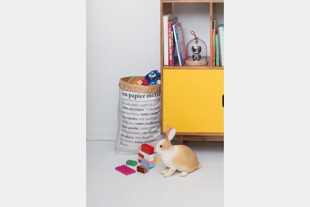 Panier en papier pour ranger les jouets Merci