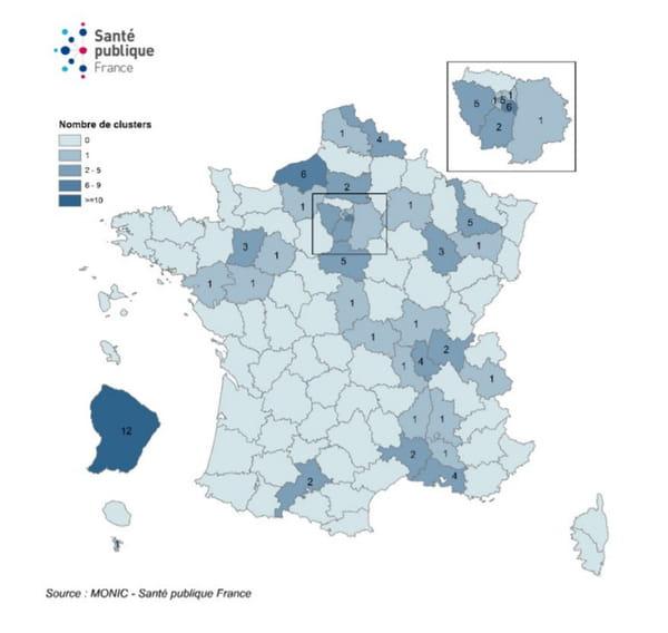 carte cluster france au 1er juillet