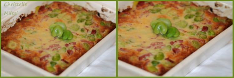 Recette de clafoutis de f ves fra ches au parmesan et - Cuisiner feves fraiches ...