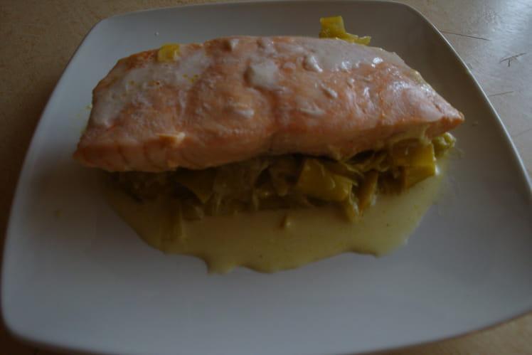 Pavés de saumon à la crème et au curry