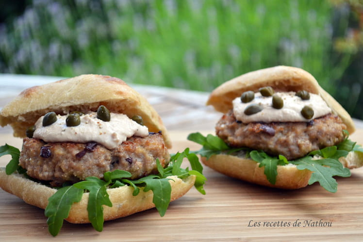 Hamburger au veau sauce au thon