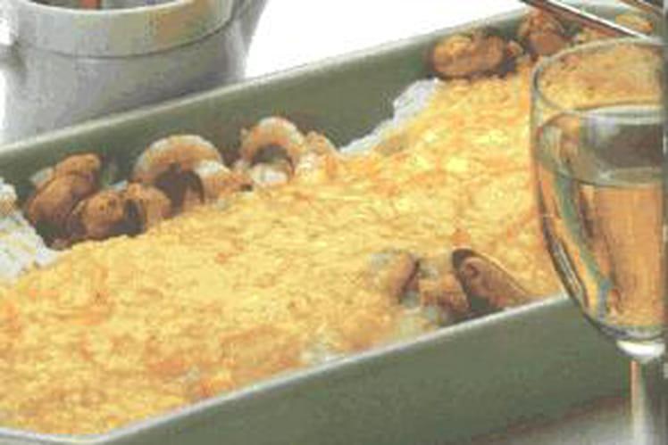 Gratin de poisson, fruits de mer et champignons