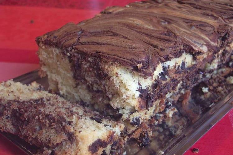 Cake marbré au coeur truffé de chocolat