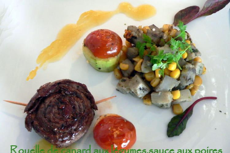 Rouelle de canard aux légumes, sauce aux poires