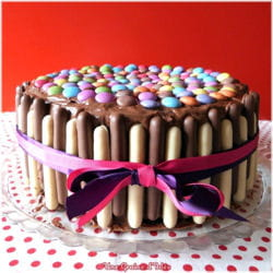layer cake party chocolat framboise smarties finger