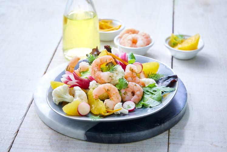 Salade de crevettes bio, choux fleur et agrumes