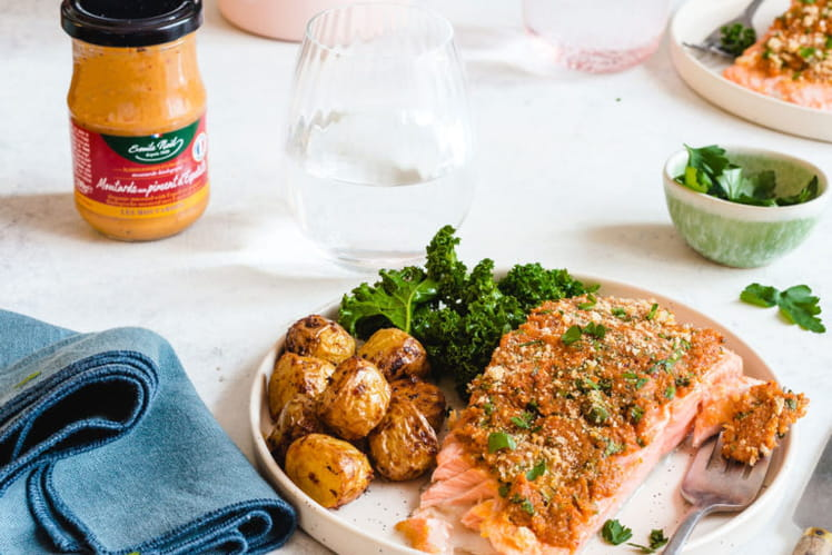 Filet de saumon en croûte de moutarde