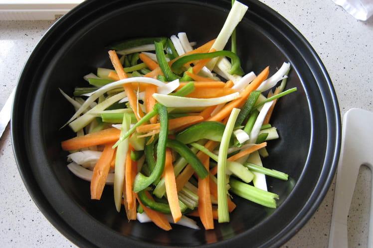 Wok crevettes et petits légumes printaniers