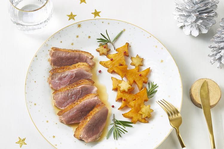 Filet de canard bio Nature de France®, sauce miel et romarin ; frites en fête