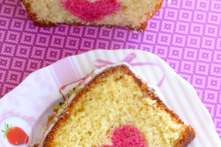 Cake à la vanille, coeur caché