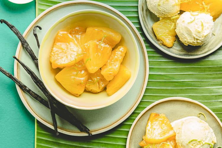 Ananas frais, sorbet mangue safranée au Companion