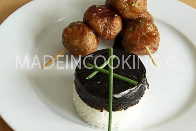 Brochettes de boulettes à la viande, Teriyaki