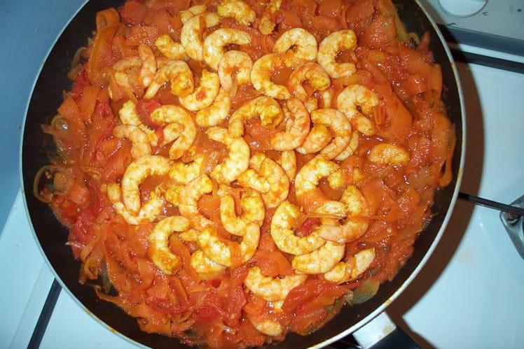 Crevettes et carottes au curry