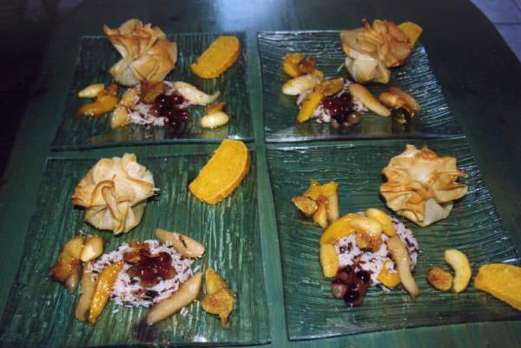 Aumônière de foie gras frais et ses riz aux fruits