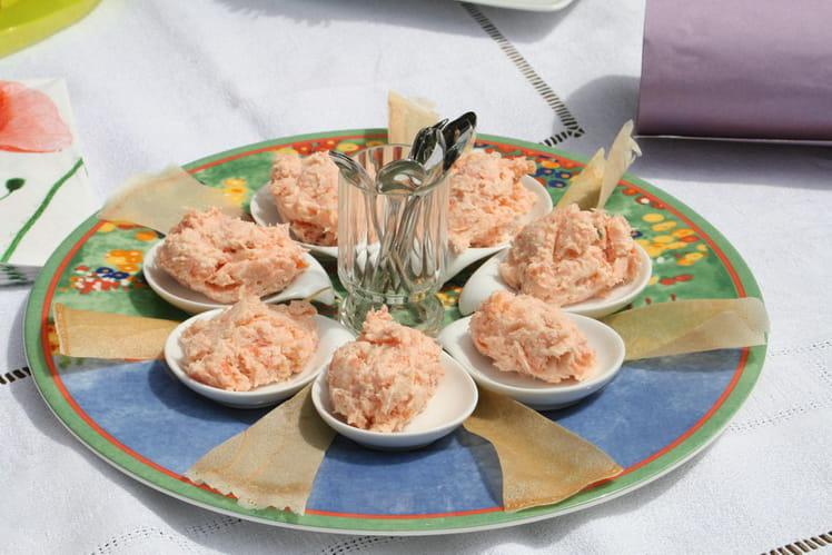 Rillettes aux deux saumons au mascarpone, moutarde et miel