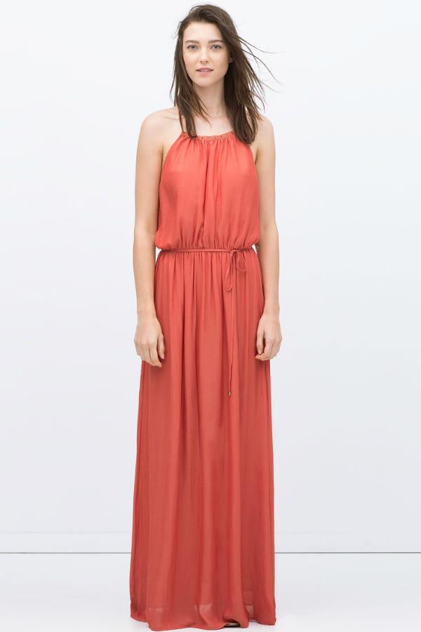ba12c2b8b7a62 Robe longue rouge de Zara