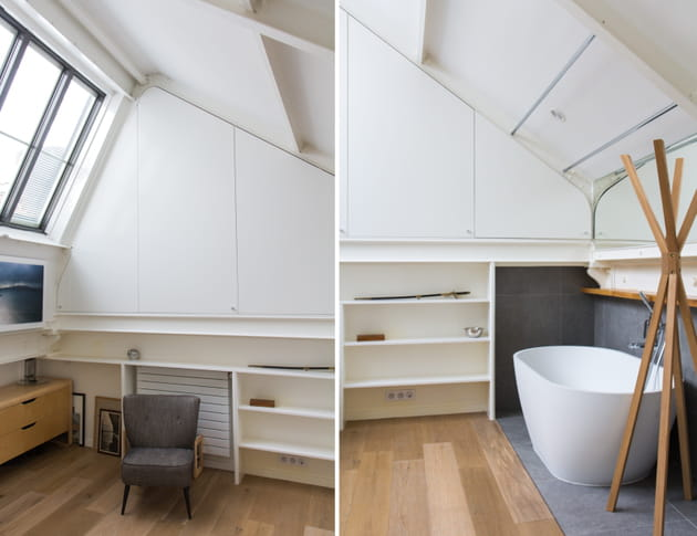 une salle de bains cosy sous les toits. Black Bedroom Furniture Sets. Home Design Ideas