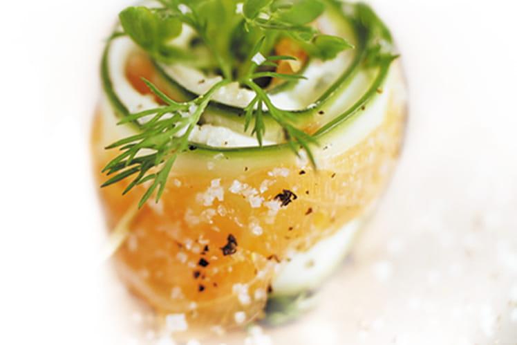 Roulades de concombre au saumon fumé