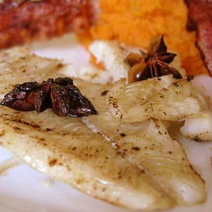 filet de daurade au lard et purée de patate douce
