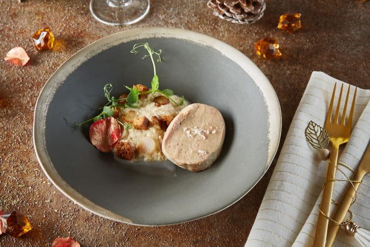 Foie gras, espuma au cidre de glace et topinambour