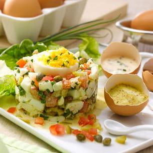 tartare d'œufs durs et son œuf mimosa