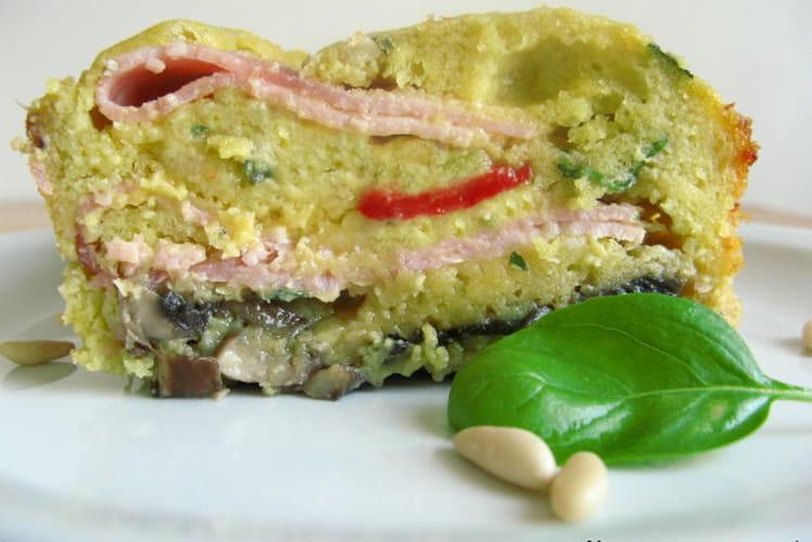 Cake au jambon huile d'olive, basilic, champignons