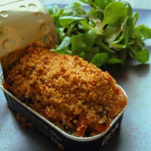 gratin de tomates citronné sur sardines en boîte