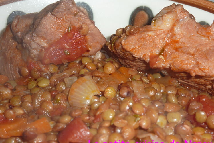 Sauté de porc aux lentilles vertes du Puy