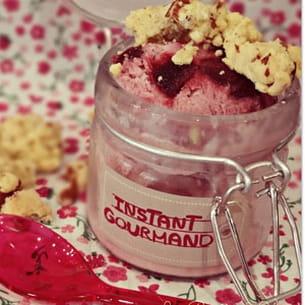 yaourt glacé aux griottes et croquants aux amandes