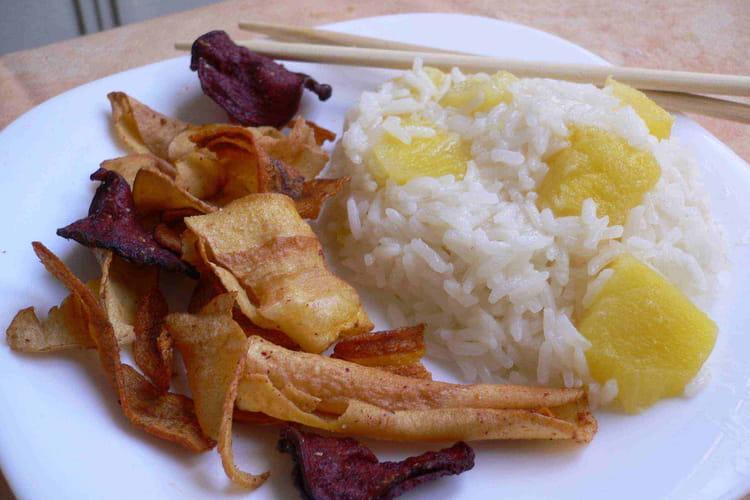 Risotto d'ananas aux chips de légumes