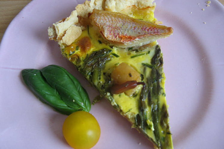 Tarte aux asperges, Saint-Jacques et filets de rouget