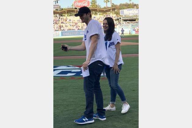 Ashton Kutcher et Mila Kunis, supporters des Dodgers