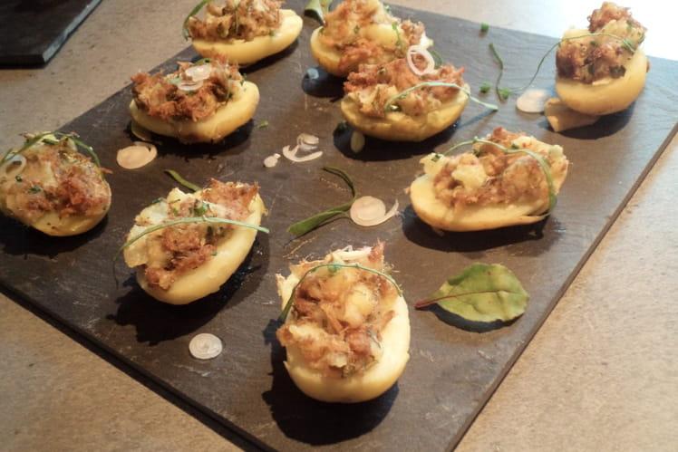 Bouchées de pommes de terre primeurs aux rillettes