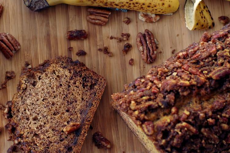 Cake Banana bread ultra moelleux aux noix de pécan et sirop d'érable Vegan