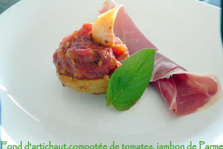 Fond d'artichaut, compotée de tomates, jambon de Parme