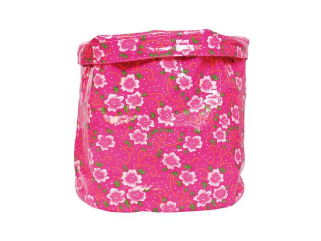 Corbeille en coton enduit rose de Petit Pan