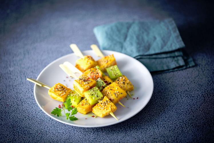 Mini-brochette de truite au concombre